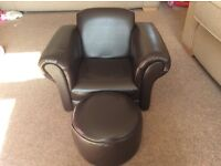 Childs Leather armchair and footstool