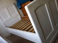 Antique Solid Wood Tall Sleigh Farmhouse Single Bed for Restoration / Can Deliver