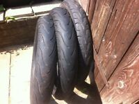 3 motorcycle tyres fit 125 2front one back michelin..tyres
