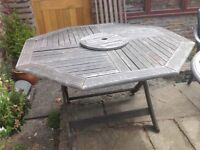 Large wooden patio table - old but still ok - for collection from near Yate, Bristol