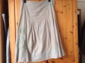 Fat Face size 8 cream summer skirt with embroidery, VGC