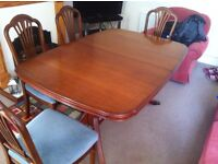 Solid Yew Wood Dining Table and 8 Chairs (extendable)