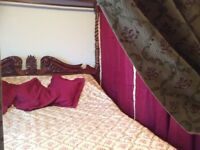 Queen Anne Tudor Baroque solid Mahogany four poster bed with curtains cushions etc