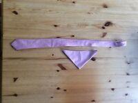 Pink wedding ties and matching pocket square