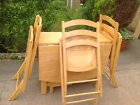 DININGSET Excellent Dorchester wood M&S Folding Leaf butterfly 4 set 3 & 1 toddler-child high chair