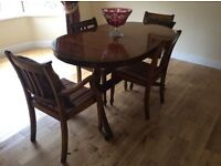 Antique Yew Finish Dining Table and Chairs