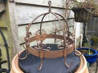 Old French rusty metal utensil hanger