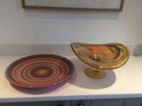 Murano glass fruit bowl and Italian plate