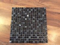 6x sheets of black mosaic wall tiles. Bilbao wall mosaic range from Better Bathrooms