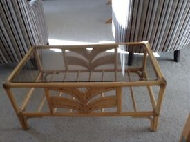 Very pretty rattan and glass coffee table