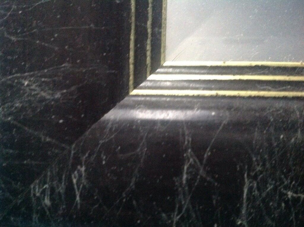 Black marble effect mirror