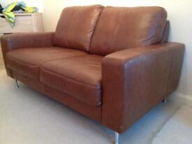 Leather 2 seater and footstool