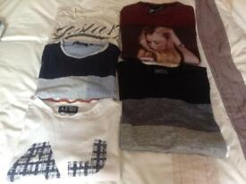 5 X mens large t-shirts including G-star raw, Armani and Jack Jones