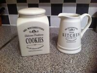 Cream Biscuit Barrel & Pitcher