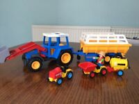 Playmobil tractor/trailer and 2 mini farm vehicles