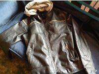 RIVER ISLAND.Urban street wear or Motorbike/Scooter. leather Jacket .Zipped Detachable Hood