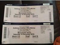 2 x JOSHUA / QUIGG/ /WHYTE/ YAFAI tickets 10th Dec @MEN