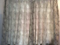 2 pairs of large Silver and Bronze lined curtains