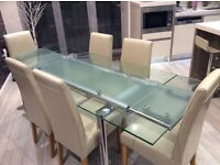 Extending Designer Glass Dining Table 6/8 Seater + 6 Leather Chairs