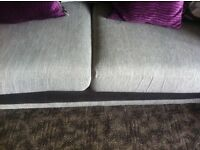 2x large scatter back couches grey bought sept 14
