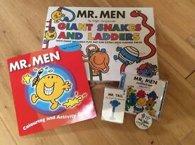 BRAND NEW Mr Men Items ( Giant Snakes and Ladders, CD Storybook, Facecloth, Colouring Book) RRP +£45