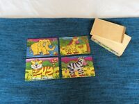 4x wooden animal puzzles in wooden box, excellent condition
