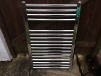 Chrome Heated Towel Radiator width 500mm x height 800mm complete with fittings. Very good condition