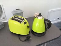 Apple green toaster and kettle