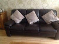 DFS brown leather 3 seater sofa 9 months old immaculate condition £150