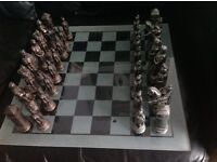 Roman chess set and glass chess board