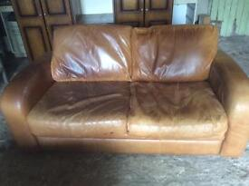 3 piece brown leathers suite