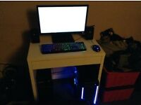 high ending gaming pc with monitor and key board and mouse