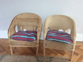2 x Children's rattan chairs with cushions