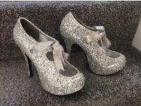 BORDELLO Ladies silver prom shoes size 6