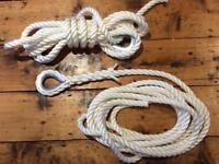1 x 16mm 3 Strand Polyester Rope Trot Mooring Line, 2 metres Long including eyes - NEW