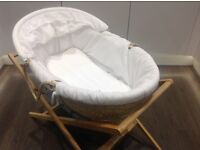 Mamas & Papas Moses Basket and Stand Snow White