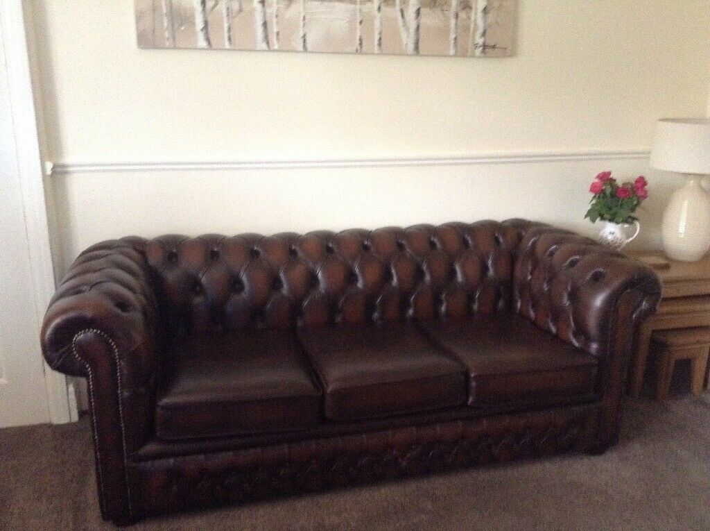 Chesterfield Leather Sofa Three Seats In Antique Brown