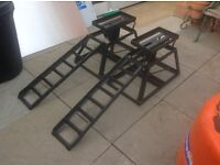 Pair Adjustable car ramps & pair of axle stands