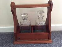 Two decanter tantalus with decanters
