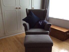 Ikea Strandmon armchair and footstool
