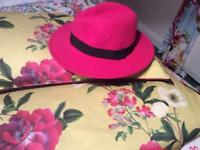 Fushia PINK felt PANAMA hat