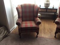 2 NEW QUEEN ANNE STYLE MODERN FABRIC CHAIRS