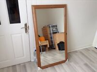Large wooden pine mirror