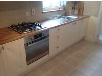 Used cream shaker Fitted kitchen plus handles and work top for sale