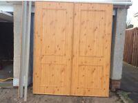 """2 Teak style sliding wardrobe doors with runners each door 3' width x 7'3 1/2"""" high"""