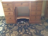 Antique pine twin pedestal desk with knee hole