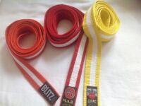 3Judo belts, yellow orange, red, 230 cm 250 cm
