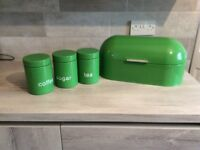 GREEN BREAD BIN AND CANISTERS