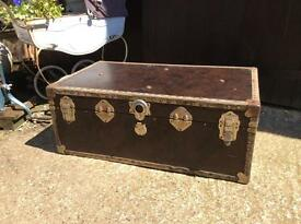 Vintage brown Steamer trunk storage