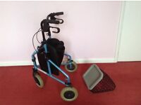 Three wheel foldable shopper/walker with shopping bag and additional basket